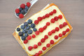 Fourth of july cake independance with fresh berries Royalty Free Stock Photo