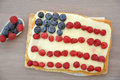 Fourth of july cake independance with fresh berries Stock Image