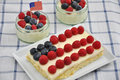 Fourth of july cake independance with fresh berries Royalty Free Stock Photos