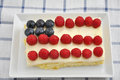 Fourth of july cake independance with fresh berries Stock Photo