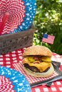 Fourth of July celebration with All American hamburger Royalty Free Stock Photo