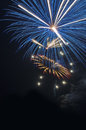 Fourth of july fireworks a display at a city park lake Royalty Free Stock Image