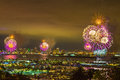 Fourth of july fireworks over san diego bay california Stock Photo