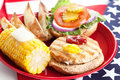 Fourth of July Picnic - Turkey Burger Stock Photography