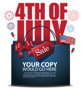 Fourth of July Sale shopping bag background EPS 10 vector