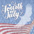 Fourth of july vector illustration hand lettered text eagle american flag and rugged texture Stock Images