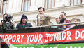 The fourth junior doctors strike london united kingdom april addressing crowd at rally to support is mr joly aka dale Royalty Free Stock Image