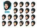 The fourth set of muslim woman in black hijab cartoon avatars