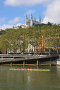 Fourviere and rowers Royalty Free Stock Photo
