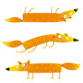 Fox animal character fun cartoon set for kids watercolor style collection wildlife pet brightly colored hand drawn foxy creature Stock Image