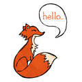 Fox drawing illustrated with text and texture Stock Photo