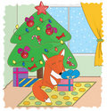 Fox and gifts Stock Photography