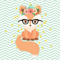 Fox in glasses in floral wreath