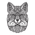 Fox head. Hand drawn sketch animal. Ethnic patterned vector illustration
