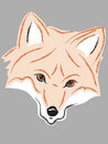 Fox head simple drawn on grey background background removable for different effect Royalty Free Stock Photo