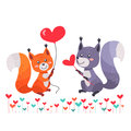 Fox with Heart Shaped Balloon and Squirrel Lovers