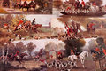 Fox hunting collection of post cards showing paintings scenes of huntings in great britain horses and foxhounds working with the Royalty Free Stock Photos