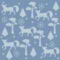 Fox Pattern with pines, spruce tees and snowflakes. Vector Illustration. Winter/Merry Christmas Collection