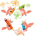 Fox and pencils Royalty Free Stock Image