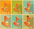 Fox posters set of retro vector illustration Stock Photo
