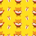 Fox and present box, christmas seamless pattern theme, for use a Royalty Free Stock Photo