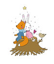 Fox, rabbit and bird sitting on a tree stump. Royalty Free Stock Photo