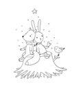 Fox, rabbit and bird sitting on a tree stump. Royalty Free Stock Photo