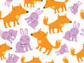 Fox and Rabbit Seamless Pattern Stock Photos