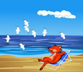 Fox and seagull- illustrator Royalty Free Stock Photo