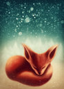Fox sleeping in winter forest Royalty Free Stock Photo