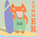 Fox surfer with board on beach seaside summer surf surfing sport recreation vector illustration Stock Photo