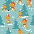 Foxes, fir-trees, snow, seamless pattern
