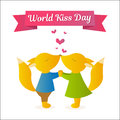 Foxes holding hands and kissing. Vector Illustration for the holiday. World kiss day