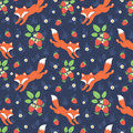 Foxes and wild strawberries seamless pattern cute forest Stock Photo
