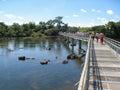 Foz do iguassu argentina brazil tourists on the wood path over river in the park iguacu Stock Photo