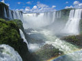 Foz do iguassu falls argentina brazil the waters of river canion and a series of large waterfalls falling between the rocks in Stock Photo