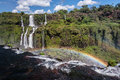 Foz do iguassu waterfalls the with a rainbow in the park iguacu parana brazil Stock Image