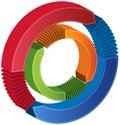 För cirkeldiagram för pilar 3d behandling Arkivbild