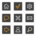 För symbolsserie för normala knappar grå rengöringsduk Arkivfoton