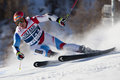 Fra alpine skiing val d isere men s gs france cuche didier sui speeds down the course during the fis world cup giant slalom race Stock Images