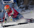 Fra alpine skiing val d isere men s gs france ligety ted usa attacks a control gate during the fis world cup giant slalom race on Royalty Free Stock Images