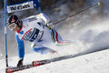 Fra alpine skiing val d isere men s gs france ploner alexander ita attacks a control gate during the fis world cup giant slalom Stock Photos