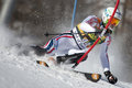 Fra alpine skiing val d isere men s slalom france tissot maxime attacks a control gate during the fis world cup race on the Stock Photography
