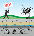 Fracking illustration of environmental risks caused by Royalty Free Stock Image