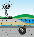 Fracking illustration of environmental risks caused by Royalty Free Stock Photos