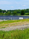 Fracking water pond used in natural gas tracking in northeast pennsylvania Royalty Free Stock Photos