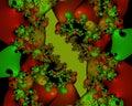 Fractal, phosphhorescent red bubbles elegant sparkling flowery abstract geometries, vivid texture Royalty Free Stock Photo