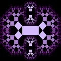 Fractal Pythagoras tree patterns, purple ornament composed of small decreasing squares on black background, Royalty Free Stock Photo