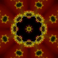Fractal Red Black and Yellow Kaleidoscope Royalty Free Stock Photo