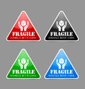 Fragile icons glossy isolated on grey background Stock Photos